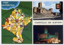 Espagne--CASTILLO DE XAVIER--Multivues Et Carte Géographique ,cpm N° 3016  éd   Postales Fama--carte Pas Très Courante - Navarra (Pamplona)