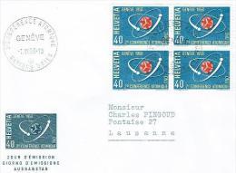 LETTRE . SUISSE . 1958 . N°338 . 2em CONFERENCE ATOMIQUE NATION UNIES GENEVE . - Svizzera