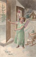 Carte Fantaisie Ange Joyeux Noel Petit Ange Avec Son Traineau - Engel