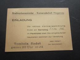 Lettre  Guerre 39/45 >1944 Deutsches Reich Tombola Findet Genau 20 Uhr Statt  Heil Hitler! Der Sammelwart Pour Haguenau - Alemania
