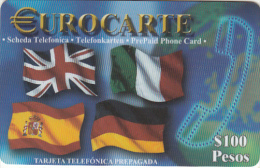 MEXICO - Flags, Eurocarte Prepaid Card 100 Pesos, Used - Mexico