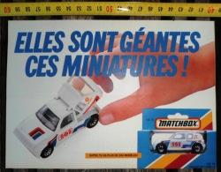 PUB PUBLICITE AUTO MINIATURE MATCHBOX MB15 PEUGEOT 205 TURBO 16 - Colecciones