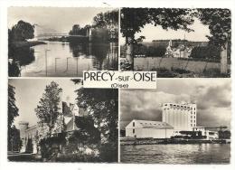 Précy-sur-oise (60) : 4 Vues Du Bourg Dont Vue Sur Le Silo à Grains En 1950 (animé) GF. - Précy-sur-Oise
