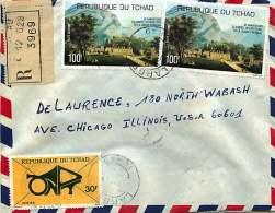 1977  Lettre Recommandée Pour Les USA Conseil International De La Langue Française X2, Emblème ONPT - Chad (1960-...)