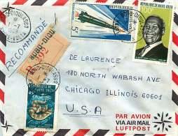 1969  Lettre Recommandée Pour Les USA  Vipère,  AJ Luthuli, Fusée Diamant - Upper Volta (1958-1984)