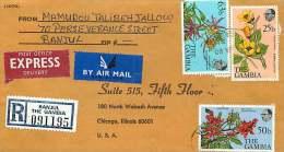 1980  Lettre Recommandée Pour Les USA  Fleurs 25b, 50b, 75b - Gambie (1965-...)