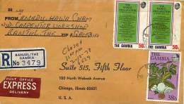 1978  Lettre Recommandée Pour Les USA  Fleurs 38b, Déclaration De Banjul 50b X2 - Gambie (1965-...)