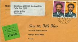 1976  Lettre Recommandée Pour Les USA  Haile Selassie  55c, $2 - Ethiopie
