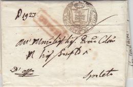 Lettre Préphilatélique Franchise Italie (1821) Avec Marque Illustrée Armoiries Municipales : Poignée De Main, Arbre - Briefmarken