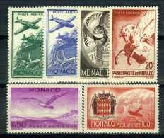 1941 MONACO POSTE AERIENNE YVERT ET TELLIER N°2/7 Xx - Poste Aérienne