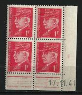 """Coins Datés YT 514 """" Pétain 1F. Rouge """" 1941-42 Neuf - Coins Datés"""