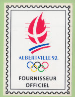 Jeux Olympiques D'ALBERTVILLE 1992. Autocollant Fournisseur Officiel. TBE Format 9.3 X 12.5. 2 Scans. - Jeux Olympiques