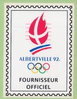 Jeux Olympiques D'ALBERTVILLE 1992. Autocollant Fournisseur Officiel. TBE Format 9.3 X 12.5. 2 Scans. - Olympische Spiele