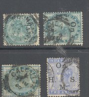 """INDIA, """"""""6 Fine Crescents"""""""" +3 Squared Circle Postmarks  On QVictoria Stamps #3 - India (...-1947)"""