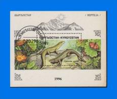 KG 1996-0001, Reptiles Sand Lizard, CTO MS - Kyrgyzstan