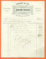 "52  - Chaumont  ""  Facture Adolphe Massen - Entrepot De Sel  "" 1862 - Artigianato"
