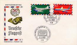 GERMANY  -   Ersttagsbrief  -  FLUGPOST - [7] Federal Republic