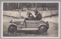 Motiv Zoo Ca. 1935 Basler Zolli Schimpansen Max&Moritz Im Steyr-Auto - Animaux & Faune