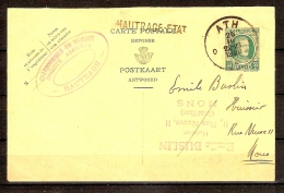 Postkaart Van Nr. 254 Afgestempeld Te ATH Dd. 25-3/1929 Met Zwarte Opdruk HAUTRAGE - ETAT ! ZELDZAAM Geheel ! - 1922-1927 Houyoux