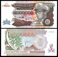 ZAIRE 5 Million Zaires 1992 SPECIMEN P 46s UNC - Zaïre