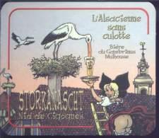Sous-bock De Biere - L'ALSACIENNE SANS CULOTTE - Storkanascht - - Sotto-boccale