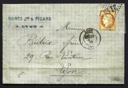 LETTRE CLASSIQUE DE FRANCE- TIMBRE CERES N° 55- CAD LYON- L 2145- 1875- 3 SCANS - Poststempel (Briefe)