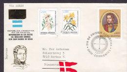 Argentina Via Aerea Airmail Dia De Emision Letra FDC Cover 1991 General Juan Manuel De Rosas Sent To Denmark (2 Scans) - FDC