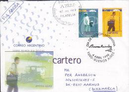 Argentina Dia De Emision Letra FDC Cover 1998 Amerika : Das Postbote The Mailman Sent To Denmark - FDC