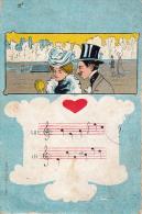 MUSIQUE Et HUMOUR - ITALIAN POSTCARD / ITALIAN GOLD COIN / COUPLE ART NOUVEAU - BELLE ÉPOQUE / VINTAGE ~ 1905 (p-034) - Humor