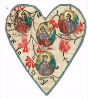 "IMAGE RELIGIEUSE Colorisée, 11 X 9,5 Cm, ""S. Susanna, Barbara, Cecillia, Catarina"" Coeur - Images Religieuses"