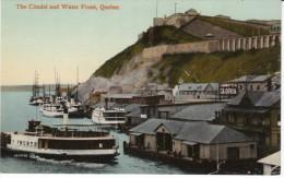 Quebec City Canada, Citadel & Water Front Boats On River, Docks, C1910s Vintage Postcard - Québec - La Citadelle