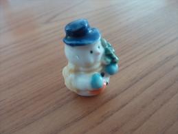 Bonhomme De Neige Miniature (h : 3,5 Cm) En Porcelaine émaillé - People