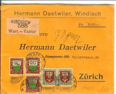 """Wertbrief 1920 Mit PJ 1919 Im Paar Von Windisch Nach Zürich Mit Siegel  """"SDS"""" - Lettres & Documents"""