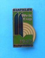 BIATHLON WORLD CUP 1982. Ruhpolding ( Germany ) LARGE PIN Badge Skiing Esqui Ski Sci Shooting Anstecknadel Distintivo - Biathlon