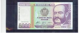 PERU   , 28.6.1988     ,   5000 CINCO MIL INTIS   ,   Printer - G&D    ,     Pick# 137 - Peru