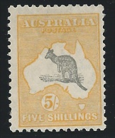 Australia 1932, 5sh Yellow & Gray, Kangaroo, Scott #126, Mint,  Fine-Very Fine - 1913-48 Kangaroos
