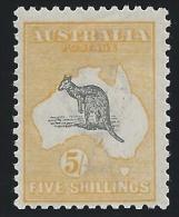 Australia 1918, 5sh Yellow & Gray, Kangaroo, Scott #54, Mint, Hinged,  Fine-Very Fine - 1913-48 Kangaroos