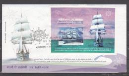 INDIA, 2004, FDC, INS Tarangini Circumnavigation Voyage, Miniature Sheet, Kolkata Cancelled - FDC