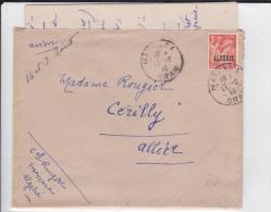 ALGERIE - 1946 - LETTRE Par AVION De MASCARA Pour CERILLY - IRIS SEUL SUR LETTRE - CACHET MILITAIRE AU DOS - Algeria (1924-1962)