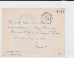 ALGERIE  - 1956 - ENVELOPPE FM Du 9° RIC à BORDJ MENAIEL (ALGER) Pour PARIS - Postmark Collection (Covers)
