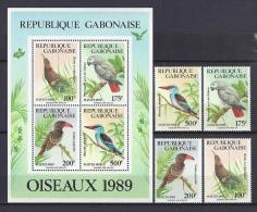 AVES - GABON 1989 - Yvert #660/63+H57 - MNH ** - Cuckoos & Turacos