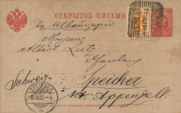 RUSSIA 1900 - Stationery Card Mi. P13 From Warsaw (Poland) To Speicher (Switzerland) -  IP271 - 1857-1916 Empire