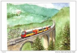 04. Chemin De Fer Provence. Rame AMP Sur Le Viaduc De La Donne, Près D'Annot En 2010.Aquarelle - Eisenbahnen