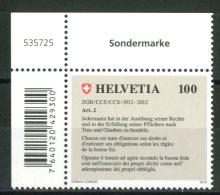 SVIZZERA / HELVETIA 2012** - 100° Codice Civile Svizzero - 1 Val. MNH Con Codice A Barre Come Da Scansione - Nuovi