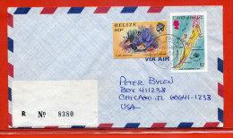 BELIZE CAYES N°8 1$ NON-EMIS SUR LETTRE RECOMMANDEE DE 1987 - Belice (1973-...)