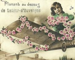 Planant Audessus De LA TOUR D´ AUVERGNE 63 Carte Photo Je Vous Envoie Mes Amities - Autres Communes