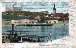 PRESSBURG POSZONY DAMPFER Karte Gelaufen Um 1900, Marke Abgelöst, Transportspuren (Eckknick, Knickstellen) Siehe Scan - Böhmen Und Mähren
