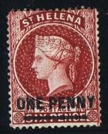 ST HELENA  Victoria  Overprinted Stamp   1 D. Perf 12½  Lake, Short Bar.   Wmk CC  SG 7  Mint Hinged - Sainte-Hélène