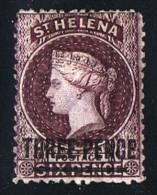 ST HELENA  Victoria  Overprinted Stamp   3 D. Perf  12½  Short Bar    Wmk CC SG 11  Mint Hinged - Saint Helena Island