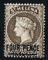 ST HELENA  Victoria  Overprinted Stamp  4 D. Sepia  Perf  14  Wmk  CA  SG 43c  Mint Hinged - Saint Helena Island